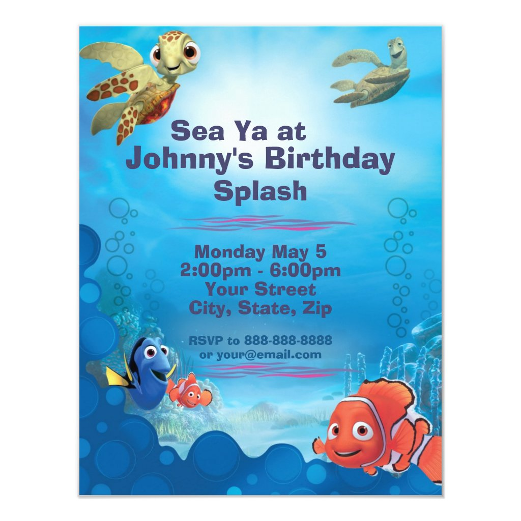 Finding Nemo Birthday Invitation