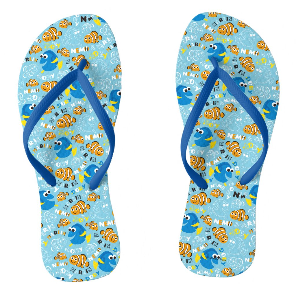 Finding Nemo | Dory and Nemo Pattern Flip Flops