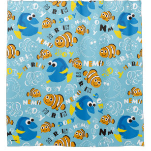 Finding Dory Pattern Shower Curtains