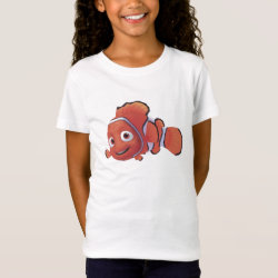 Girls' Fine Jersey T-Shirt with Cute Nemo of Finding Nemo design