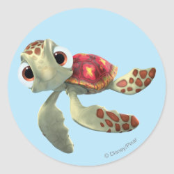 Round Sticker with Cute baby sea turtle Squirt of Finding Nemo design