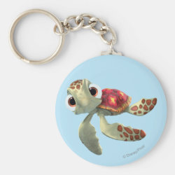 Basic Button Keychain with Cute baby sea turtle Squirt of Finding Nemo design