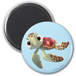 Round Magnet with Cute baby sea turtle Squirt of Finding Nemo design