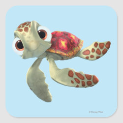 Square Sticker with Cute baby sea turtle Squirt of Finding Nemo design