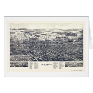 Findlay, OH Panoramic Map - 1889 Card
