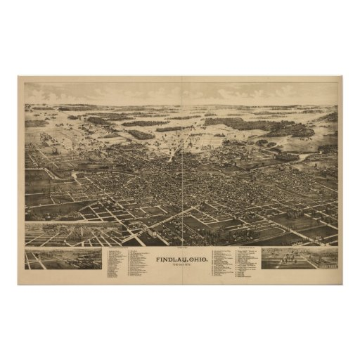 Findlay Ohio 1889 Antique Panoramic Map Posters