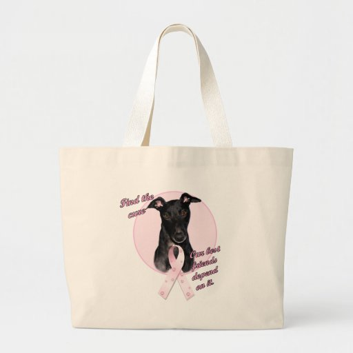 FindtheCure ~ Pink Ribbon Black Greyhound Jumbo Tote Bag