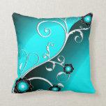 Fine Aqua Silver Cute Girly Retro Floral Pillow