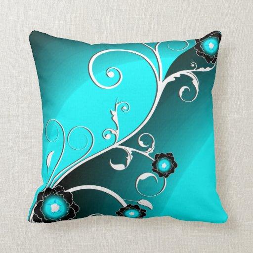 Cute Aqua Throw Pillows : Fine Aqua Silver Cute Girly Retro Floral Throw Pillow Zazzle