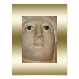 Fine Art Ancient Statue Roman Goddess Gold 4.25x5.5 Paper Invitation Card