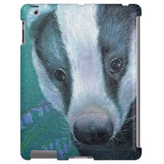 Fine art Badger in the bluebell wood ipad case