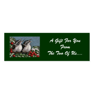 FINE ART CHRISTMAS GIFT TAG: Baby Birds Mini Business Card