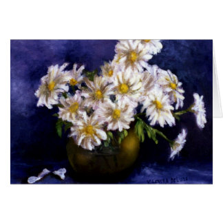 Fine Art Daisies in Purple Background Greeting Cards