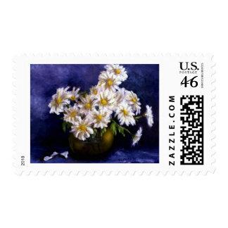 Fine Art Daisies in Purple Background Postage Stamp