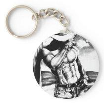 Fine art drawing handsome Cowboy Body Builder Keychain