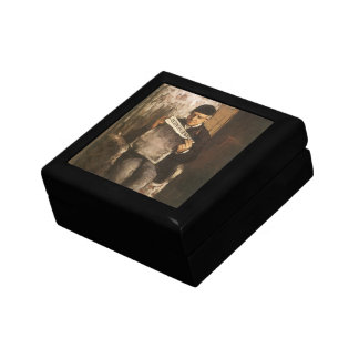 Fine Art, Father Of The Artist Reading by Cezanne Jewelry Box