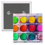 Fine Art Fun Colorful Paint Color Box 2 Inch Square Button