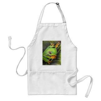fine art green frog adult apron