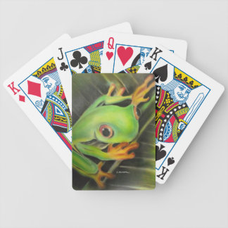 fine art green frog bicycle playing cards