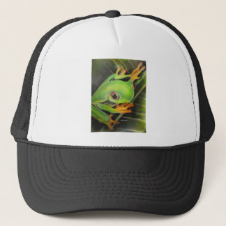 fine art green frog trucker hat