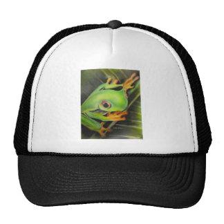 fine art green frog trucker hat