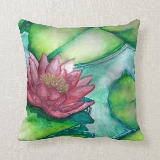 Fine art illy pad flower throw pillow