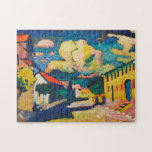 """Fine Art   Kandinsky Jigsaw Puzzle<br><div class=""""desc"""">The famous and beautiful painting of Vassily Kandinsky (1908,  Murnau,  Dorfstrassedelight) delights and inspires in this gorgeous puzzle! The greatest boredom buster and your very own fine art piece!</div>"""