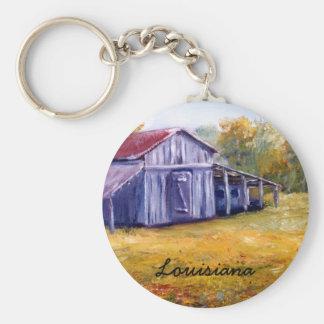Fine Art Louisiana Barn from Oil  Painting Basic Round Button Keychain
