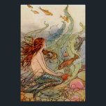 "Fine Art Mermaid Ilustration Poster<br><div class=""desc"">Turn of the century book illustration print  of a beautiful mermaid and surrounded by fish and aquatic elements&#39; It would be a great addition to a bed or bathroom. Choose your own quality of paper and size.</div>"