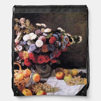Fine Art Monet Flowers Drawstring Bag