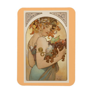 Fine Art Nouveau Jugendstil Alfons Mucha fruit Rectangular Photo Magnet