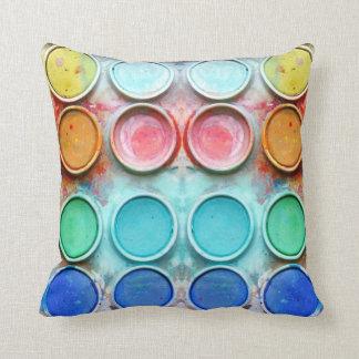 Fine art paint color box throw pillow