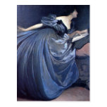 Fine art painting Althea blue woman fashion Postcard