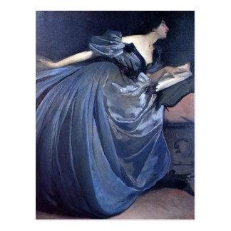 Fine art painting Althea blue woman fashion Postcards