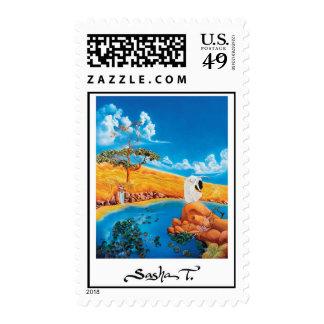 Fine art painting postage stamp