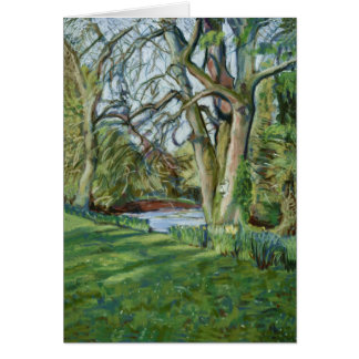 Fine Art Pastel Painting Riverbank in Early Spring Card