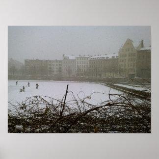 Fine Art Photography Berlin frozen lake Poster