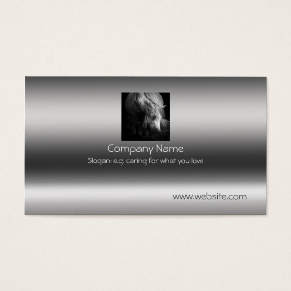 Fine Art Pony Head and Mane on metallic-effect Business Card
