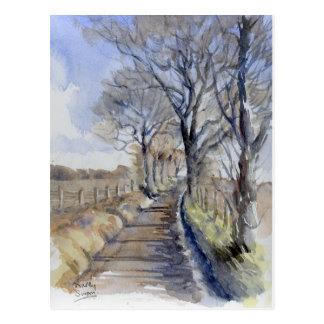 Fine Art Postcard- A Wintry Road, watercolour Postcard