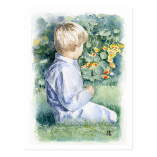 Fine Art Postcard- Boy Sitting in Grass