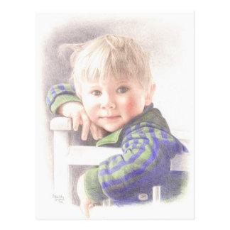 Fine Art Postcard- Little Mischief, colour pencil Postcard