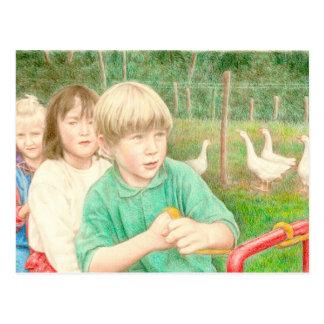 Fine Art Postcard- Playtime, colour pencil Postcard