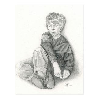 Fine Art Postcard- Whistling, graphite pencil Postcard