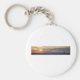 Fine Art Poster of Ludington, Michigan Pier Basic Round Button Keychain