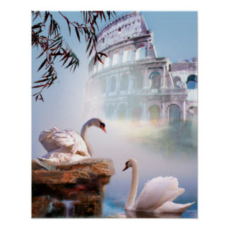 Fine Art Poster Swan Pair at the Acropolis.