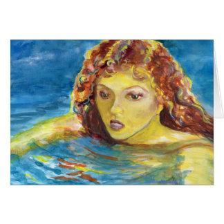 Fine Art Red Head Female Swimmer Card