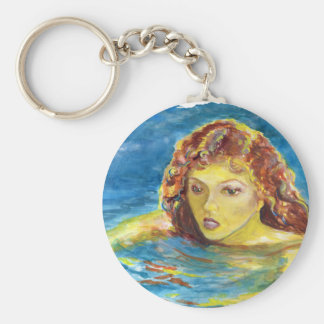 Fine Art Red Head Female Swimmer Keychain