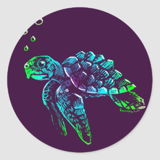 Fine Art Scratchboard Sea Turtle Classic Round Sticker