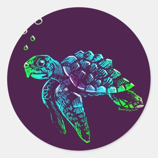 Fine Art Scratchboard Sea Turtle Classic Round Sticker