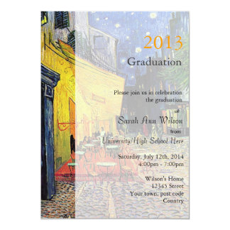 Fine art street cafe at night graduation party card